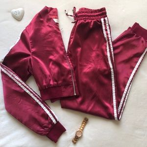 Cherry Red Silk Two Piece Track Suit 🍒
